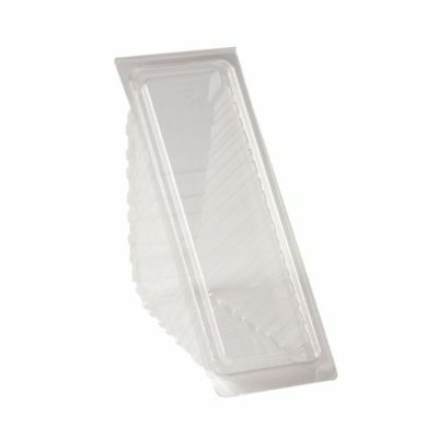 50 x Clear Plastic Cake Slice Box Hinged Triangle Wedge Catering Display Deli