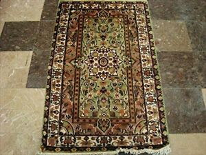 Green Ivory Touch Rectangle Area Rugs Hand Knotted Wool Silk Carpet 4 X 2 6 Ebay
