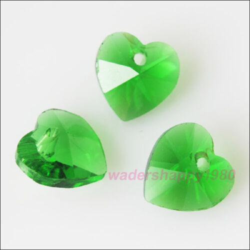 15Pcs Faceted Heart Glass Crystal Rondelle Beads Charms Pendants 10mm