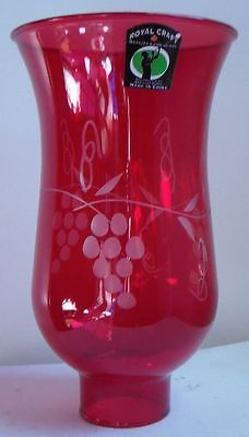"Cranberry Grapes Glass Hurricane Lamp Shade Chandelier Light, 3 1/2""x6 1/2"" #740"