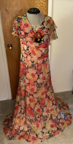 1930's Vintage Original Flower Print Chiffon Long