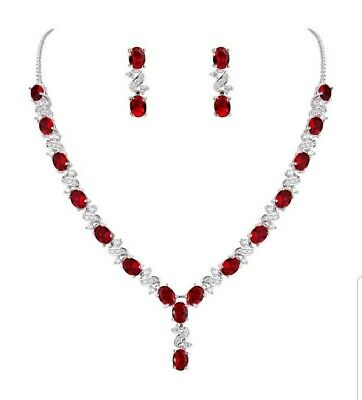 White gold finish heart red ruby /& created diamond necklace earrings valentines