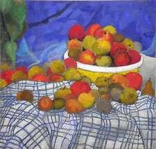 Peter Pinsel, Früchte auf blau kariertem Tuch, 2006, 87x 92 cm