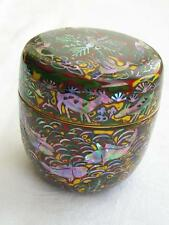 Antique Japanese lacquer and MOP natsume (tea caddy) 1920s handpainted #1555