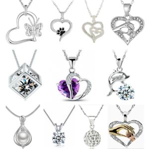 925-argento-cuore-carino-Ciondolo-Donna-Fiore-Charm-Collana-Catena-Gioielli-Regalo-Nuovo