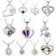 925-argento-cuore-carino-Ciondolo-Donna-Fiore-Charm-Collana-Catena-Gioielli-Regalo-Nuovo miniatura 1