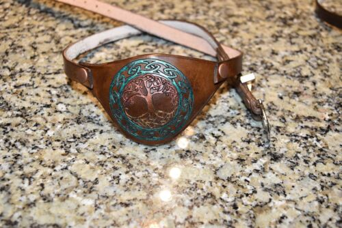 Leather eye patch tree of life adjustable with buckle good for permanent use