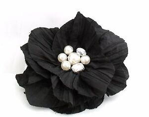 Black Crinkle Fabric Flower Fascinator Hair Clip Corsage With