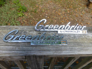 (1 or 2) Chevy Chevrolet Greenbrier script emblems trim moldings P-3819390