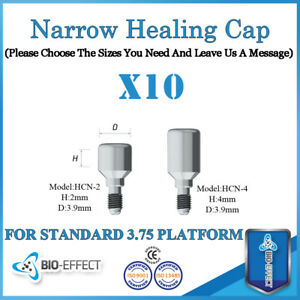 10-Dental-Implant-Titanium-Narrow-Healing-Caps-For-Internal-Hex-Platform-Implant