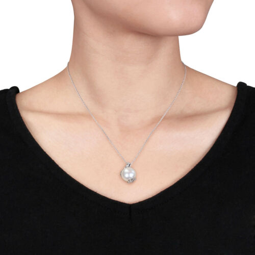 Sterling silver Pearl /& 1//5 CT TW Diamond Flower neckalce Boucles d/'oreilles Set 10-12.5mm