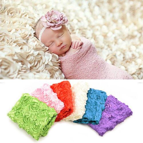 Newborn Baby Girl Rose Soft Blanket Wrap Photography Props Wrap Bebe Swaddle J