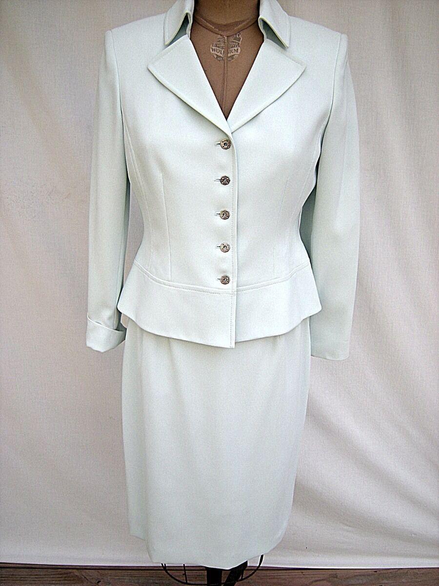 KASPER Petite Pale Aquamarine 100% Poly Crepe Dressy Dinner Skirt Suit 6P  NOS
