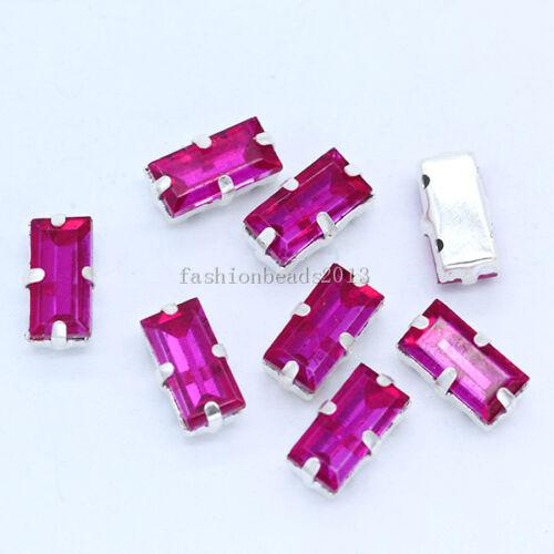 20p 5x10mm Rectangle à Coudre Sur à facettes verre cristal Diamante strass bijoux
