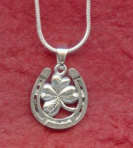 Horseshoe-Necklace-Silver-Plated-Luck-jewelry-lucky-four-leaf-clover-horse-shoe