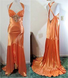 TERANI-10-Dress-PROM-Formal-Gown-Evening-PAGEANT-Orange-Beaded-Hi-Lo-Train-NWT