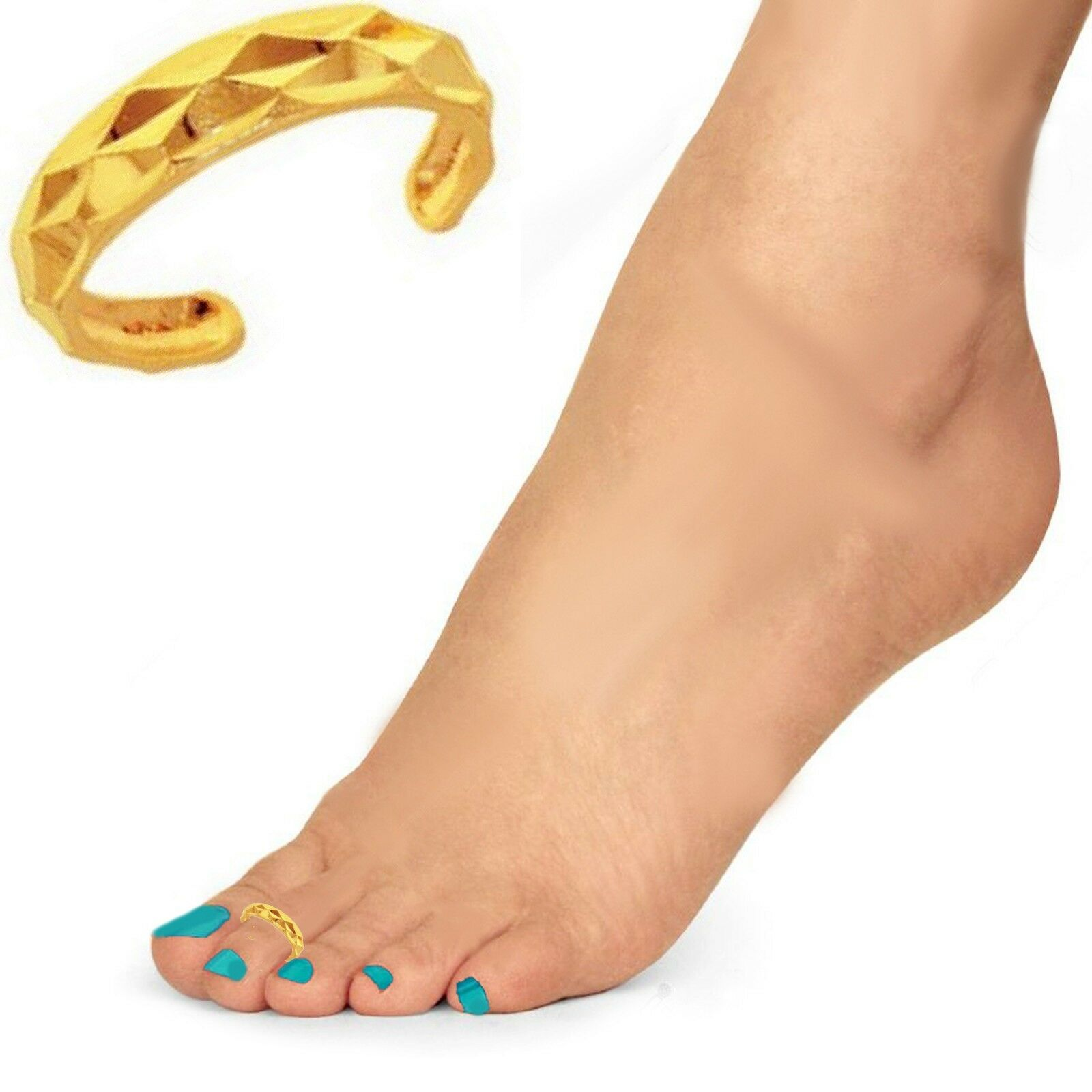 10k Yellow gold Dia-cut Textured Adjustable Toe Ring