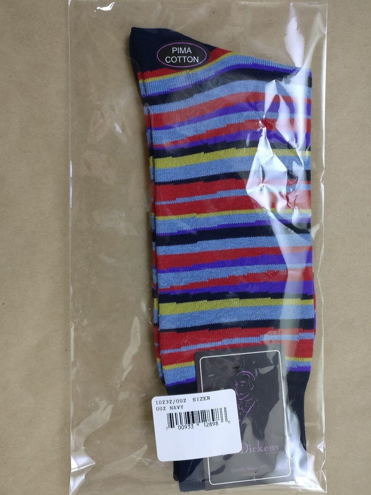 Dickens Mens Pima Cotton Sharp Stripes Navy Fashion Dress Socks Size:10-13 J.M