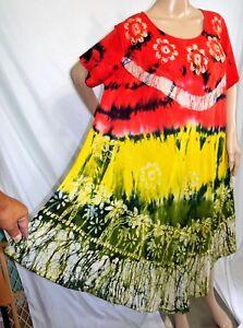 Jessica Taylor Women Plus Size 2x 3x Purple Green Tie Dye Batik Dress Cover Up