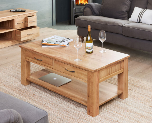 Baumhaus Solid Oak Coffee Table 4 Drawer And Shelf Mobel Collection
