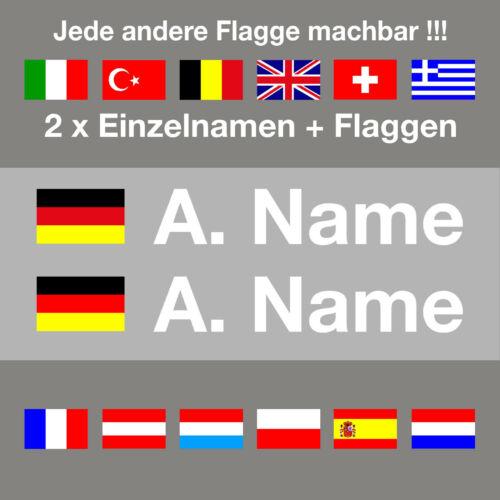 Name12 mmKartHelmMotorradFahrrad Neu 2 x Aufkleber Flagge