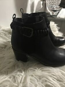 Sperry-Top-Sider-Black-Leather-Pull-On-Block-Heel-Ankle-Braided-Boots-Size-8M