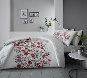 FLORAL-WATERCOLOUR-STYLE-RED-COTTON-BLEND-SUPER-KING-DUVET-COVER
