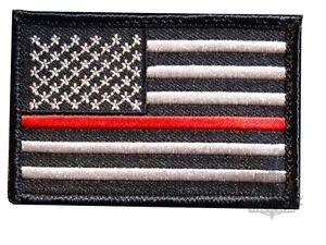 Fina-Rojo-Linea-Ee-uu-Fire-Combatientes-Charity-US-Velcro-Parche-Estados-Unidos