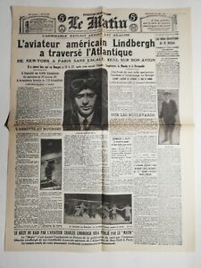 N471-La-Une-Du-Journal-Le-Matin-22-mai-1927-Lindbergh-traverse-l-039-Atlantique