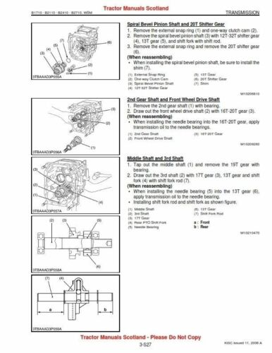 Kubota B1710,B2110,B2410,B2710 Traktor Workshop Manual Pdf CD