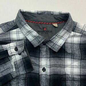 Woolrich-Button-Up-Shirt-Mens-2XL-Gray-White-Long-Sleeve-Flannel-Plaid-Casuals
