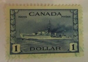 Canada-SC-262-HMS-COSSAK-One-Dollar-used-stamp-F-VF