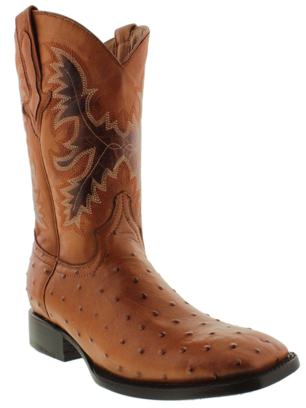 Mens Cognac Western Square Toe Boots Ostrich Pattern Leather Cowboy