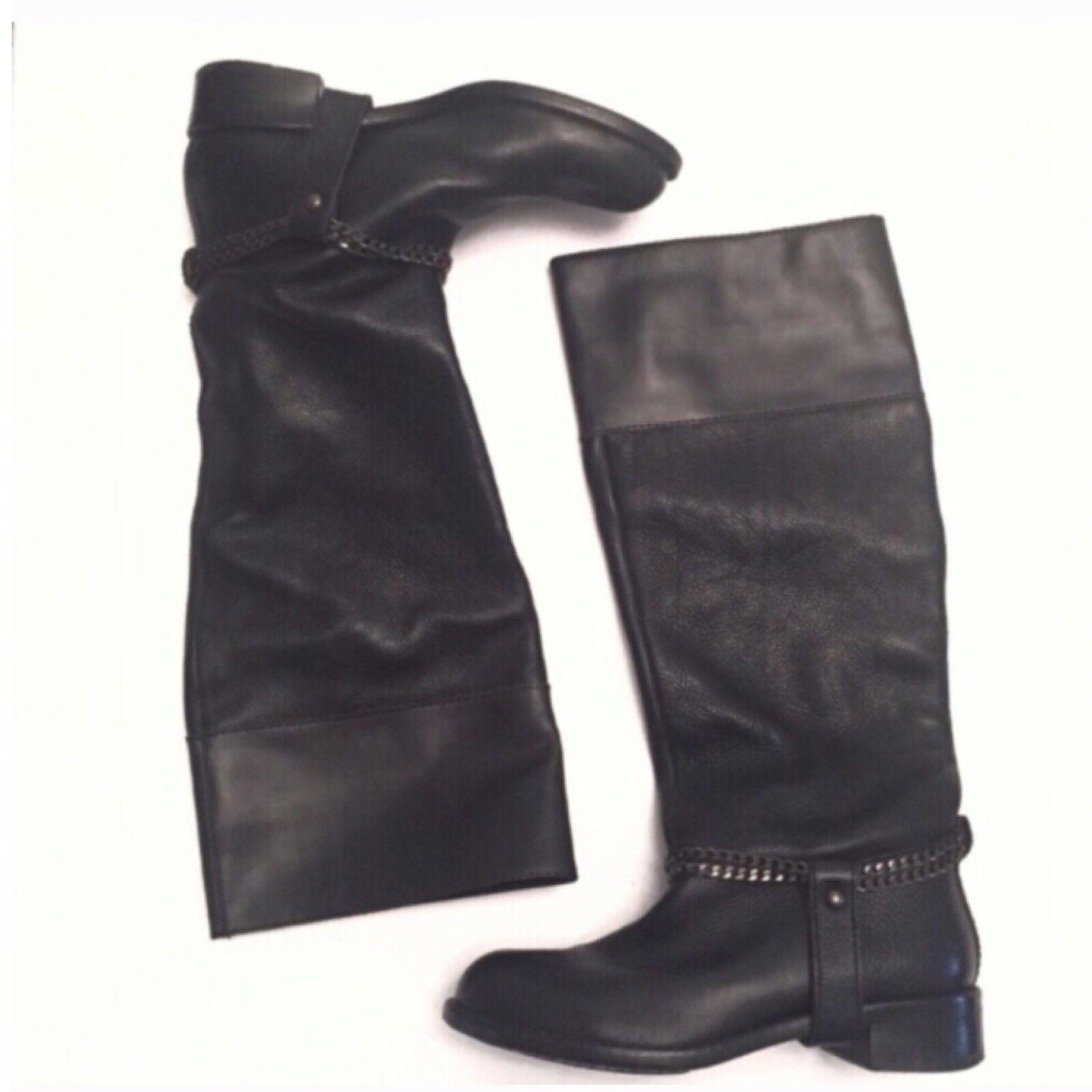 DKNY Donna Karan Tall Black Leather Chain Boots 7