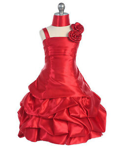 Elegant-Girl-039-s-Fuchsia-or-Red-Flower-Girl-Pageant-Party-Dress-w-Pick-ups