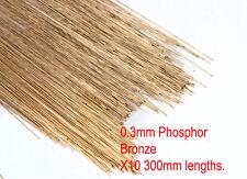 10 X 0.3mm diameter phosphor bronze modellers wire. 300mm lengths.