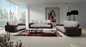 Wohnzimmer Sofa Set Couch 3er 2er Sessel 3 2 1 Kunstleder Braun ...