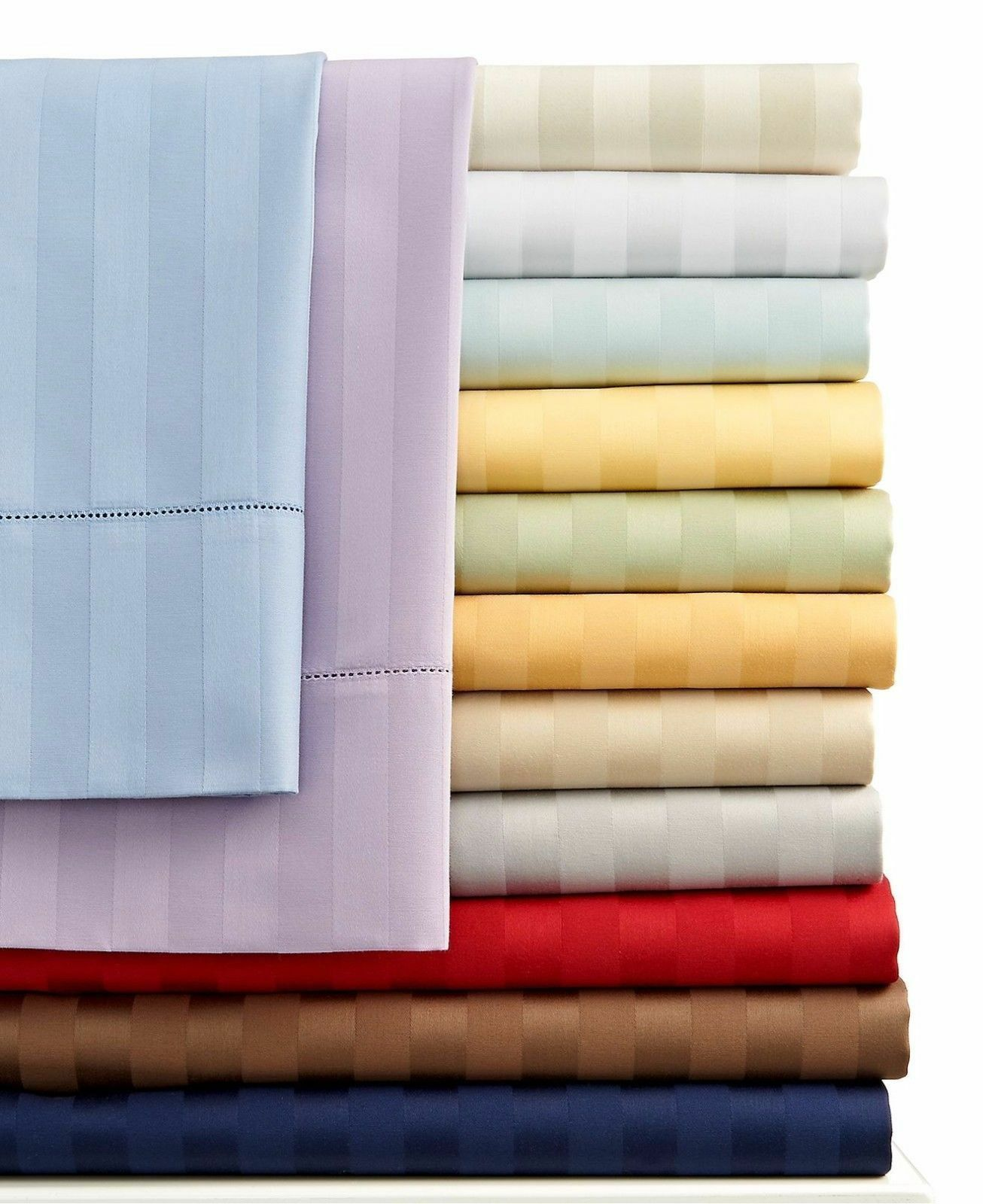1000 TC BED SHEET SET STRIPED ALL COLORS & SIZES 100% EGYPTIAN COTTON