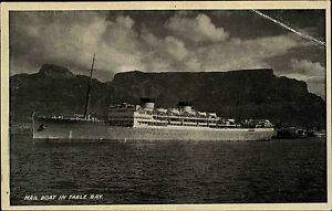 Schiffe-1930-Mail-Boat-Ship-Table-Bay-Suedafrika-South-Africa-Postcard-used