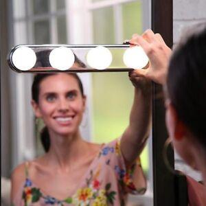 Portable Vanity Mirror Light Bulbs 4 Led Studio Glow Make