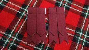TC-Hombre-Distintivo-de-calcetines-para-Kilt-Burdeos-Tartan-Hose-Bandas