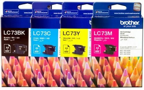 SET Brother Genuine LC-73BK LC-73C LC-73M LC-73Y Inks For DCPJ525W MFCJ430W