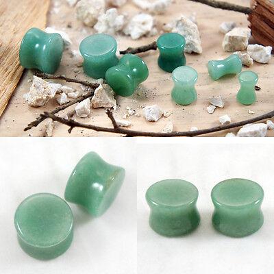 "Pair Organic Green Aventurine Jade Natural Polished Stone Ear Plug Saddle 4G- 1"""