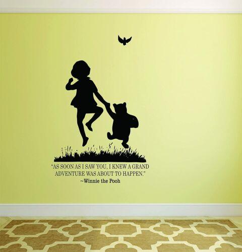 Pooh Adventure Quote Cartoon Wall Sticker Vinyl Art Decal Decor Kids Room Home