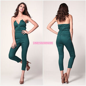 New Sexy Women Ladies Strapless V-neck With Pleated Bust Rompers& Jumpsuit