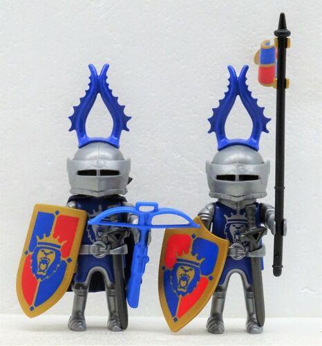 2 Heavy Lion Knights D Blue Silver Playmobil Knight Antler Helmet Flag RAR