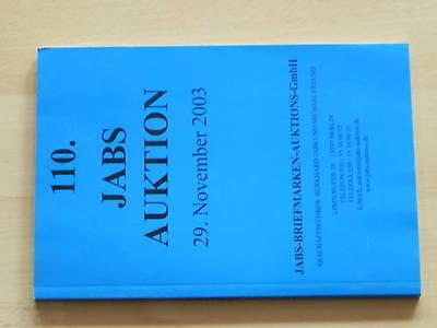 Auktionskatalog, 110. Auktion, Nov. 2003, Jabs