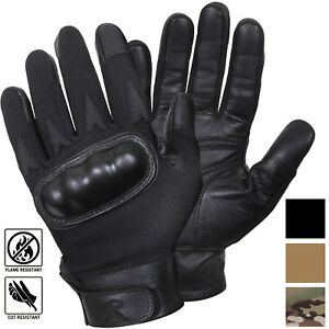 Image is loading Tactical-Hard-Knuckle-Leather-Gloves-Cut-Fire-Resistant- c392ed88ad1