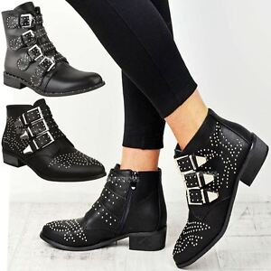 Womens Ladies Studded Flat Low Heel Cowboy Ankle Boots Buckle ... 6e405c2b7841