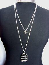 "Bird & Birdcage Charm Double Layered Necklace Minimalist Silver Tone 30"" Chain"
